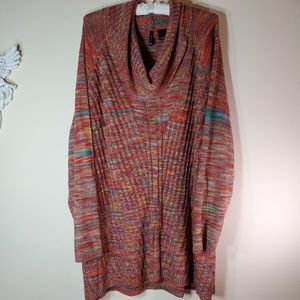 NWT New Directions Rainbow Combo cowl neck sweater